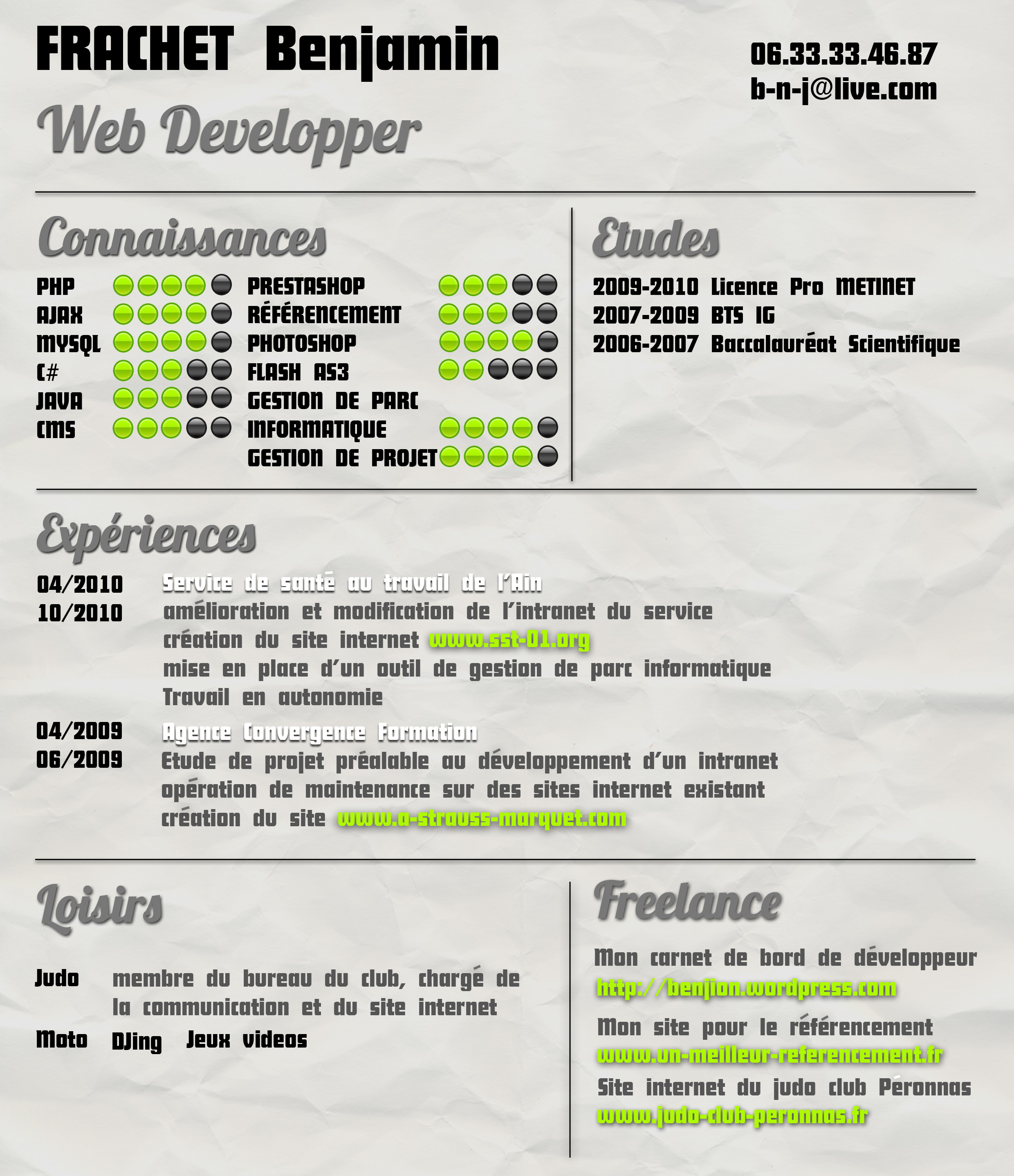 exemple cv developpeur web